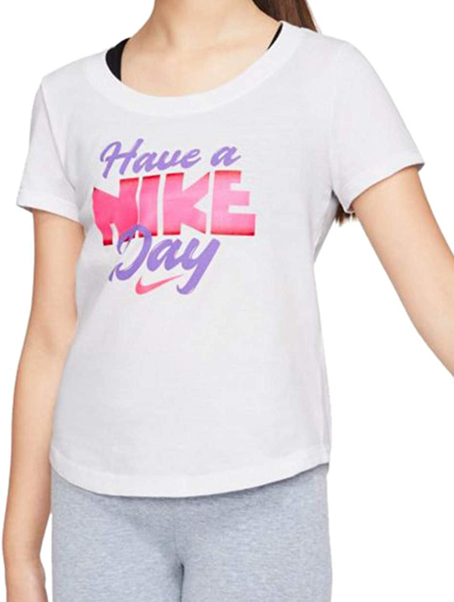 Nike Big Girls Graphic-Print Cotton T-Shirt Size L(Runs Small) White