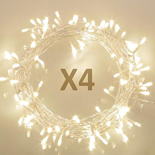Koopower [4 Pack] 36ft 100 LED Battery Operated String Lights with Timer on 11M Outdoor Clear String Lights(8 Modes, IP65 Waterproof, Warm White)