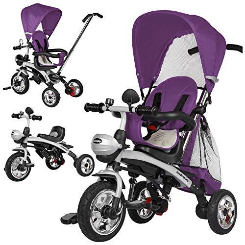 Dreirad Kinderdreirad Kinder Lenkstange Kinderdreirad mit Abnehmbarer Sonnendach Fahrrad Kinderwagen Baby (KP0566VIO)