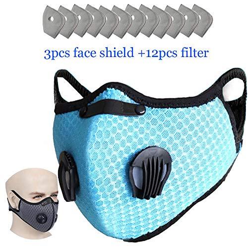 HUIGE Aktivkohlestaubdichtes Gesicht Cover, 3Pcs Face Shield Zusätzliche 12st Filter Wiederverwendbare Cycling Gesicht Abdeckung für einen Mann eine Frau