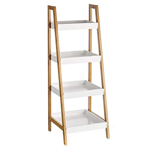 Estantería de 4 baldas nórdica blanca de bambú para cuarto de baño Basic -  Lola Derek e14678780175