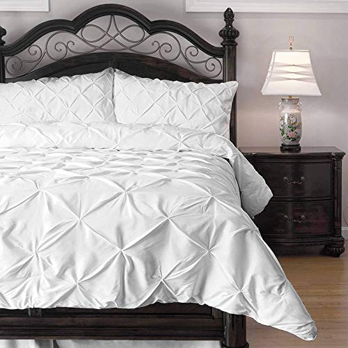 ExceptionalSheets Queen Size Comforter Set - 3 Piece Down Alternative Comforters - Decorative Pinch Pleat Pintuck Design - Wrinkle Resistant Microfiber Bed Set - White