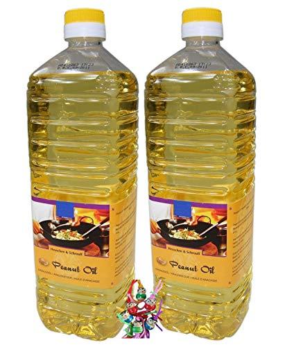 yoaxia ® - 2er Pack - [ 2x 1000ml ] Erdnussöl / Arachide Olie / Peanut Oil + ein kleines Glückspüppchen - Holzpüppchen