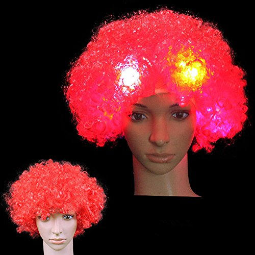 LED Flash Explosion Wig, Clown Wig, Beautiful Afro Wig ,Fancy Dress Parties Wig, Cosplay Wig ,Men & Women 's Hair Wig for Cosplay /Halloween Party Costume (Red)