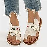 FASZFSAF Zapatos Playa para Mujer, Moda Verano, Zapatillas Antideslizantes Lazo, Sandalias Plataforma, Zapatillas Punta Abierta, Chanclas, Zapatos Planos,Blanco,38