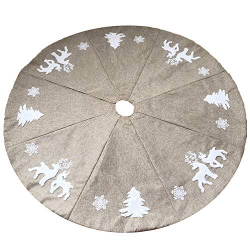 BESPORTBLE Filz Baumdecke 122cm Leinen Weihnachtsbaumdecke Rentier Baumrock Weihnachtsbaum Unterlage Rock Christbaum Decken Tannenbaum Teppich für Weihnachtsschmuck Deko