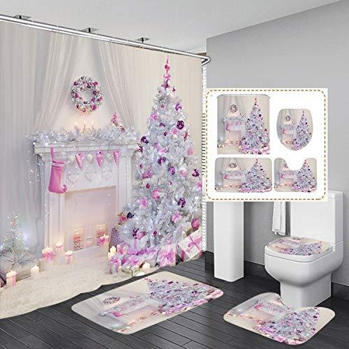 Fashion&Man 4 PCS Feliz Navidad Cortina Ducha Tela Cortina de Baño Antimoho Cortina de Ducha Impermeable...