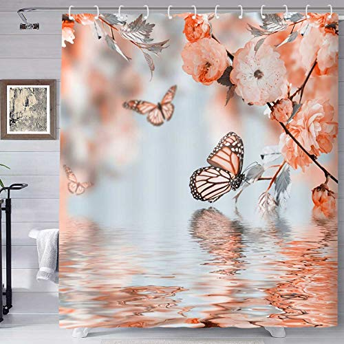 Ombre Butterfly Shower Curtain Butterfly Water Reflection Bathroom Printing Shower Curtain, Machine Washable Fabric Home Bathroom Privacy Decor Set with Hooks, 72x72inch YLHXTE305