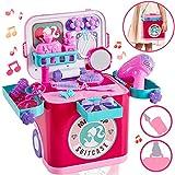 Buyger 4 en 1 Maletin Maquillaje Niñas con Musica y Luz Belleza Peluqueria Juguete Juego de Imitación para Niña 3 4 5 Años