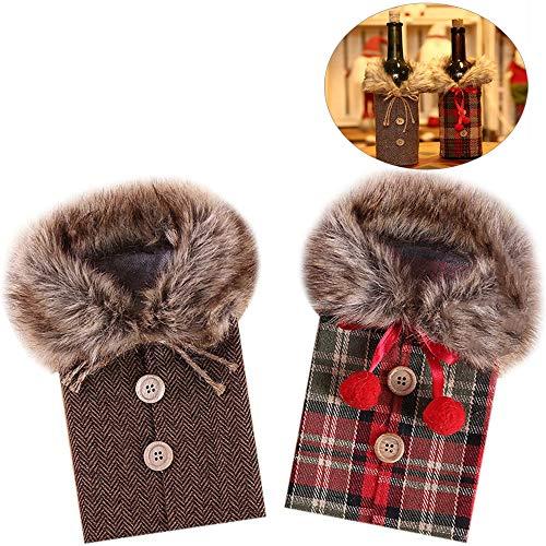 Xinlie Weihnachten Weinflasche Cover Weihnachten Red Wine Taschen Flaschebeutel Flaschetasche Weinflasche Flaschenanzug für Wein Flasche Weihnachten Tasche für Weihnachts Geschenk Verpackung (2 Stück)