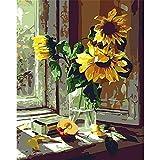 OKOUNOKO Pintando Adultos por Numero Crisantemo Y Manzana Frente A Ventana Lienzo para Colorear Imágenes Kits De Bricolaje Art Habitación Decoración Frameless 40X50Cm