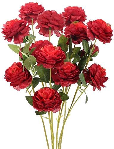 Künstliche Blumen Fake Flowers Bouquet Garland 6 PCS Artificial Roses Silk Brautstrauß 26,3 '' Stem Lange Blütenpflanzen Gefälschte Rose Burgundy Red Flower Pflanzen for Haus-Garten-Hochzeit Party Hot