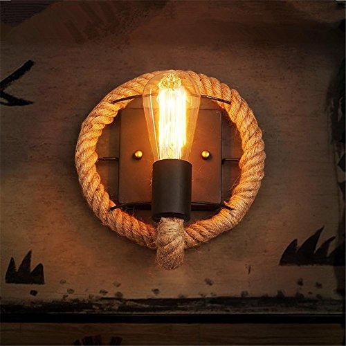 Atmko®Applique Murale Vintage en fer forgé corde mur lumière bars cafés étudient décorative lampe de chambre couloirs, B