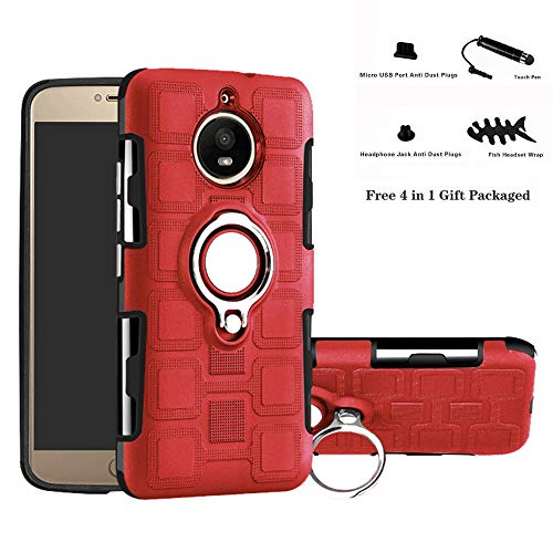 Labanema Motorola Moto G5S Custodia, Cavalletto con Anello in Metallo,360°Rotazione Protettiva in TPU & PC Morbida, Compatibile con Supporto Magnetico per Auto - Rosso