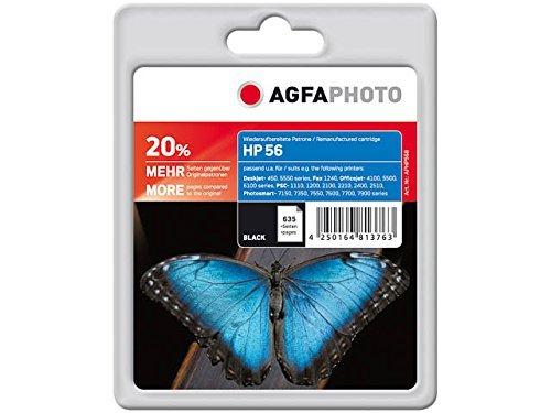 AgfaPhoto Tintenpatrone schwarz kompatibel zu HP56 (C6656AE) geeignet für HP HP PSC 1210,Fax 1240, Digital Copier 410