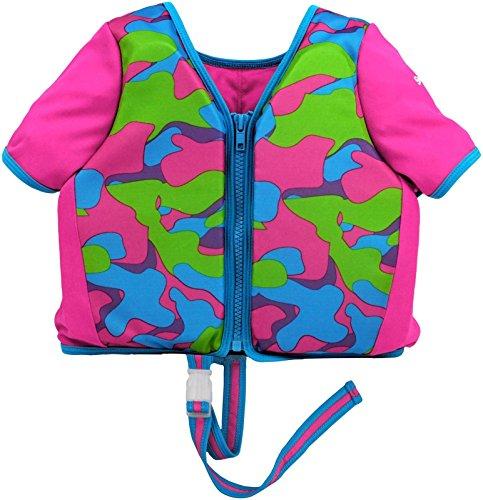 Aqua LEISURE ET9053ML Sleeved Swim Training Vest, ML, with Zipper & Safety Strap, Blue Print Baby Toy