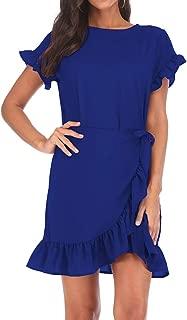Womens Long Sleeve Round Neck Ruffles Wrap Dresses Party Dress
