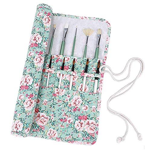 WopenJucy Bolsa para plumas, bolsa de lona, bolsillo lateral, tiza de agua, cortina, lápiz, bolsa de papelería, Office escolar verde