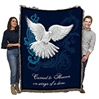Pure Country Weavers Carried to Heaven on Wings of a Dove - Sympathy Blanket Throw Woven from Cotton - Made in The USA (72x54)