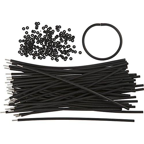 Bracelets - Assortiment, L: 20 cm, ép. 4 mm, noir, 48sets