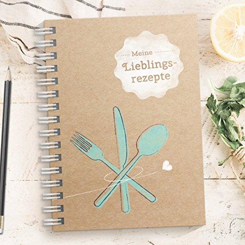 DIY Rezeptbuch zum selberschreiben – Meine Lieblingsrezepte – Modernes DIN A5 Kochbuch zum selbstgestalten mit Inhaltsverzeichnis, Register und Schutzfolie (Made in Germany)
