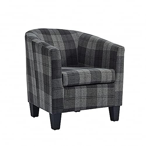Home Detail Modern Tub Chair in Grey Tartan Fabric