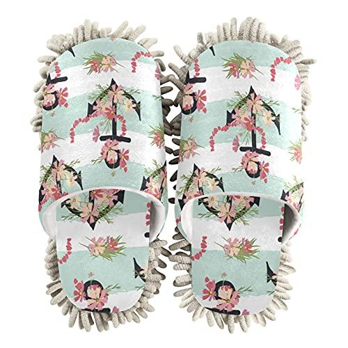 Zapatillas de limpieza para mujer, diseño floral con ancla para casa, zapatos de limpieza de piso, zapatillas para mujeres, hombres, niños, uso en interiores, multicolor, 36/39 EU