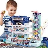 BABYHOME Race Car Track Garage,2 in 1 Electric 3-Story Parking Building w/ Elevator,Light&Sound,4 Mini Cars(Police...