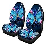 Forwei Trendy Autositzbezüge, 2 Stück All Inclusive Blue Butterfly Sitzbezug (3D) Ultraweiche...