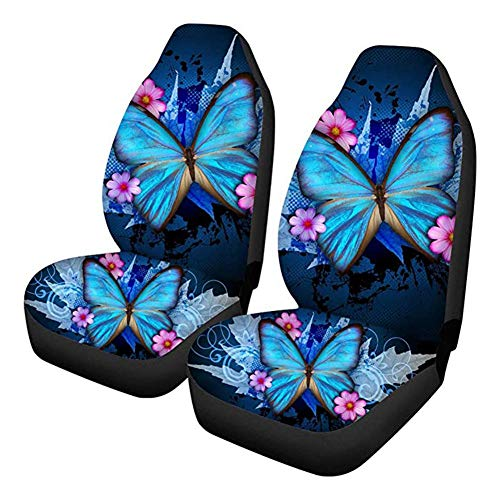 Sitzbezug Auto Vordersitze Universal Blau - Trendy Autositzbezüge, Blue Butterfly Print Sitzbezug Mit Hoher Rückenlehne, 2er-Set Ultra-Soft Universal Fit