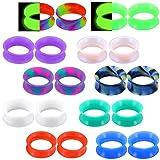OUFER - Set di 20 misuratori per orecchie in silicone, in marmo, perlato, a forma di carnefici, in colori misti, 1,5 cm, con dilatatore per orecchio, colore: 4 mm., cod. OSPPK004-4MM