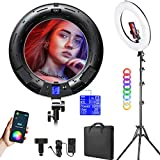 18-inch RGB LED Ring Light Kit with Stand Phone Holder APP Control, 2500K-8500K/CRI95/0-360 Hue/17 Scenes Lighting with LCD Screen DC Adapter for Makeup Selfie YouTube Video Shooting