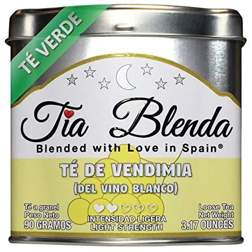 TIA BLENDA - TÉ DE VENDIMIA (DEL VINO BLANCO) (90 g) – Delicado TÉ VERDE Sencha Japonés Premium con UVAS. Té en hojas. 40 - 50 tazas. Presentación premium en lata. Loose Tea Caddy.