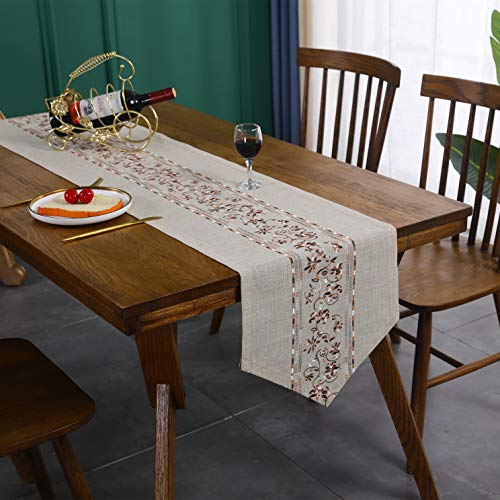 Cotton Linen Center Coffee Flower Embroidery Bohemian Spring Brown Table Runner for Dining Table Top Home Farmhouse Wedding Decoration 180cm