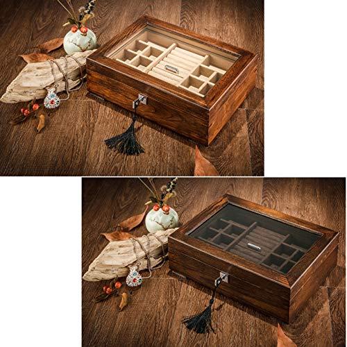GYMEIJYG Caja De Almacenamiento De Reloj Caja De Reloj De Madera Doble Capa Caja De Almacenamiento De Exhibición De Joyería Caja De Reloj con Tapa De Vidrio para Guardar Relojes