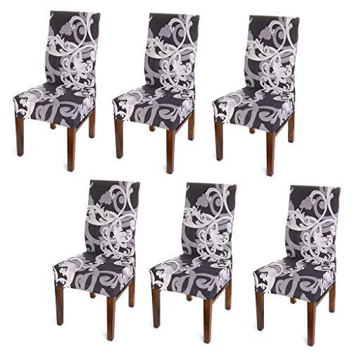 BTSKY Moderne, schlichte Stuhlbezüge, dehnbar, abnehmbar, belastbar, waschbarer Schonbezug für den Esszimmerstuhl, Gartenstuhl, Schutzabdeckung/Husse, 6 Stück Schwarze Blume