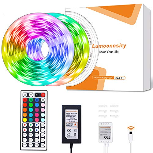 Lumoonosity LED Strip Lights. 32.8ft 12V Flexible LED Light Strips Kit. RGB Color Changing LED Lights for Bedroom, Room, Kitchen, Bar, Home, Indoor Decoration with 44 Keys Remote Controller