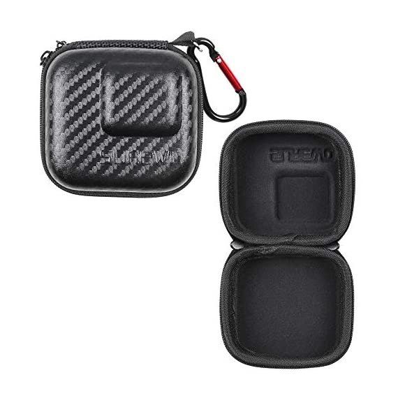 Hard Carrying Case for GoPro Hero 9/8,SUREWO Mini Hard Shell Carrying Case Travel Portable Storage Bag for GoPro Hero 9… 4 ★ MINI SIZE - Mini storage just for Gopro camera plus frame housing,keeps your GoPro safe and protected.Compact and easy to store in backpacks or carry-on luggage.Recommend for traveling and home storage,it is very easy to carry. ★ HIGH QUALITY and FASHIONAL - High quality PU surface,provide Water resistance and dampproof.Stylish exterior design of black twill patterns. ★ DOUBLE ZIPPER - The advantage of the double zipper is that this mini bag can also be used when you want to install a similar mount such as a selfie stick.Just install the mini bag after installing the selfie stick.It's up to you to decide how to use it.This mini case both as a storage box and as a protective case.