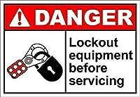 駐車場の装飾ブリキの看板ボックスロックアウト機器危険サイン、ヴィンテージスタイルノスタルジックな広告壁サイン装飾バーパブヴィンテージルック