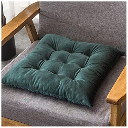 GYL-JL 2/4 Pack Chair Pads, Solid Color Crystal Velvet Chair Cushion Thick Warm Chair Sit Pads Office Stool Mat Driver Seat Home Decor Sitting Pillow (Color : Dark green, Size : Set Of 2)
