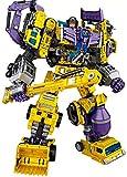 NBK Deformation Oversize Toys Robot Devastator TF Engineering Combiner 6 in 1 Action Figure Car Truck Model Gift for Kids Boys(Yellow)