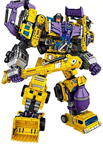 NBK Deformation Oversize Toys Robot Devastator TF Engineering Combiner 6 in 1 Action Figure Car Truck Model Gift for Kids Boys(Yellow)