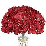 LuLuHouse Silk Hydrangea Heads with Stems Bulk Artificial Flower Heads DIY Wedding Centerpiece Home Party Baby Shower Decor (10, Dark Red)