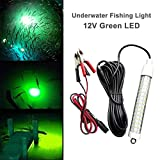 12V 120 LED Submersible Fishing Light Underwater Fish Finder Lamp, Night Fishing Lure Bait Finder Crappie Boat Ice Fishing Light Attractants More Fish in Freshwater & Saltwater, with 6M Power Cord