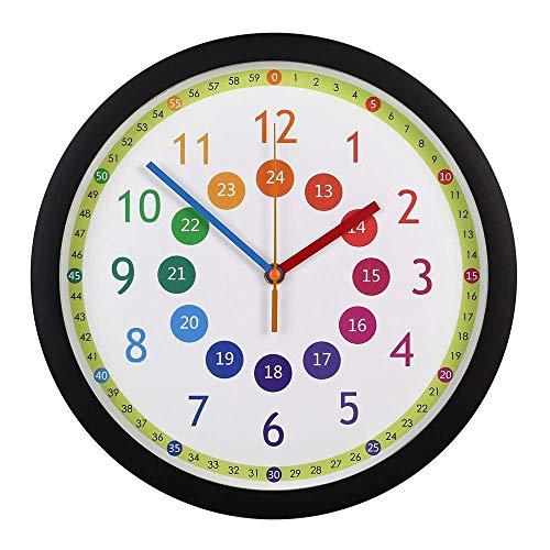AABBC Reloj de Pared Grande silencioso, Reloj de Pared para niños Time Teacher, 12 Pulgadas, fácil de Leer y Decir la Hora, para Sala de Estar, Dormitorio, Sala de Juguetes (Color: Negro)