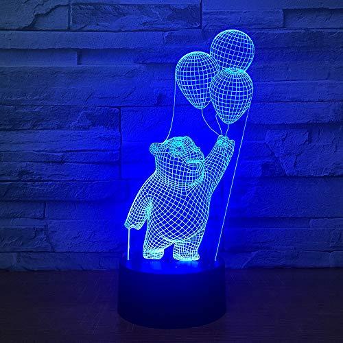 chambre 3d enfants lumière de nuit, 3d chambre lampe chambre nuit décorative, illusions d'optique 3d led lampe de nuit pour filles, femmes et enfants (Bear)