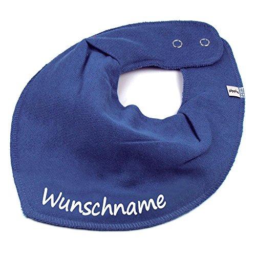 Elefantasie - Pañuelo con nombre o texto personalizado para bebé o niño, varios modelos azul grisáceo 0-3 Años