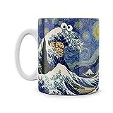 Van Gogh Starry Night Cookie Monster Great Wave Artist Painting Artwork mug, Gift For Friends Him Her Joke Present, Novelty Funny Mug