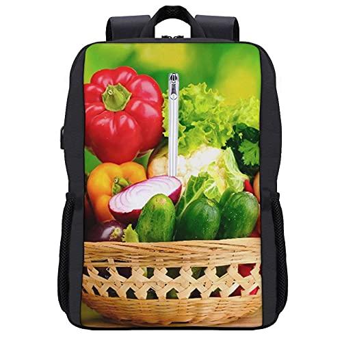 GKGYGZL Mochila de viaje,Verduras frescas en la canasta sobre la mesa de madera sobre fondo verde,Bolsa para computadora de negocios antirrobo delgada con puerto de carga USB