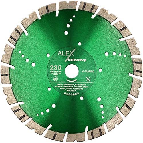 LXDIAMOND Disco de corte de diamante de 230 mm x 22,23 mm Premium V-TURBO de 15 mm para granito, granito, acero, hormigón, piedra natural, apto para amoladora angular de 230 mm